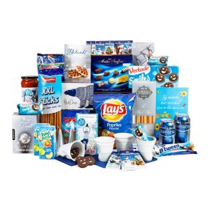 Een mooi en goedgevuld blauw kerstpakket voor mannen en vrouwen
