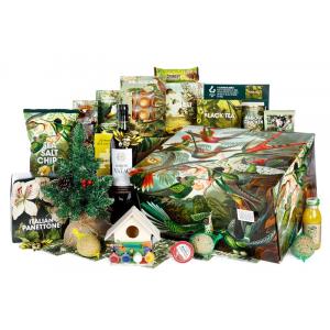 Groene kerstpakketten inclusief een groen gekleurde kerstpakketdoos